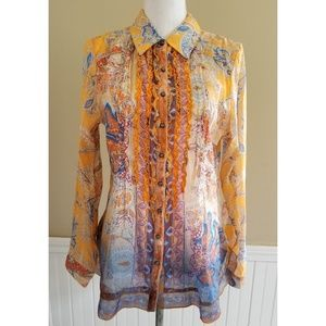 Soft Surrounding  Sheer Button Down Shirt